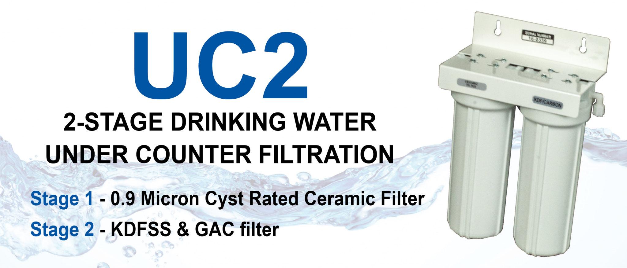 2-STAGE DRINKING WATER UNDER THE SINK WATER FILTRATION SYSTEM